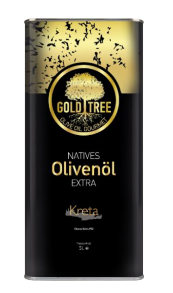 "Natives Olivenöl Extra aus Kreta ""GOLD-TREE"" 5000ml Metall-Kanister"