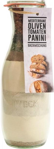 Backmischung Tomaten-Oliven-Panini Brötchen 1062ml Weckflasche