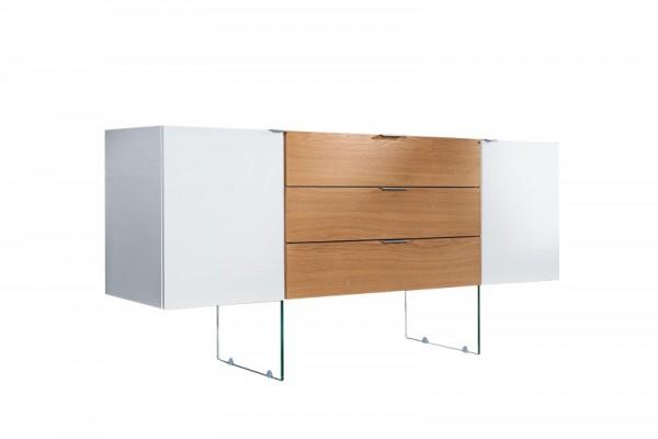 Sideboard Onyx 160cm weiss Glas-Eiche 36198