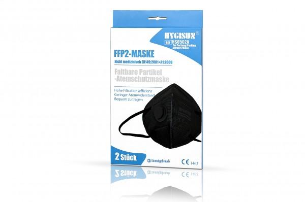 HYGISUN FFP2 Maske (Schwarz, 2er Packung) mit CE (HS0502A)