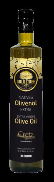"""Crete extra virgin olive oil """"GOLD TREE"""" 250ml Dorica bottle"""