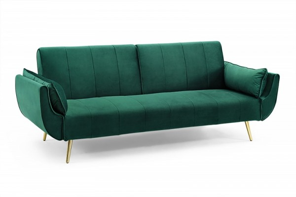 Schlafsofa Divani II 215cm smaragdgrün Samt goldene Füße