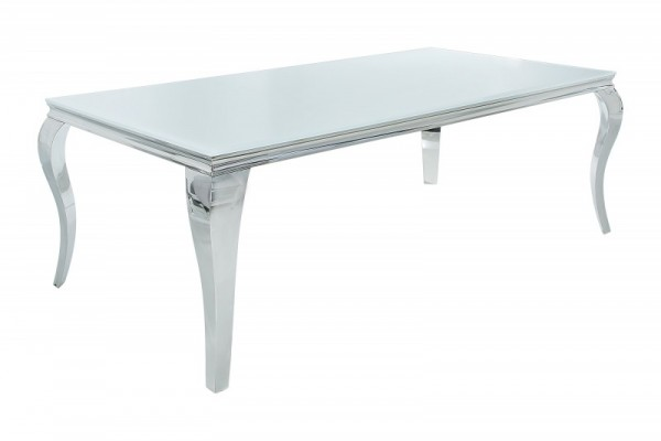 Esstisch Modern Barock 200cm weiss silber 37904
