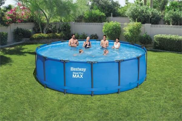 Steel Pro Max™ Frame Pool Komplett-Set, rund, mit Filterpumpe, Sicherheitsleiter & Abdeckplane 457 x