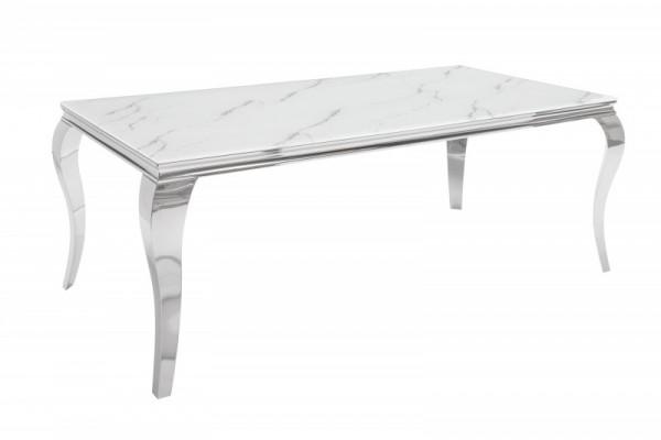 Esstisch Modern Barock 200cm silber Marmor 39996
