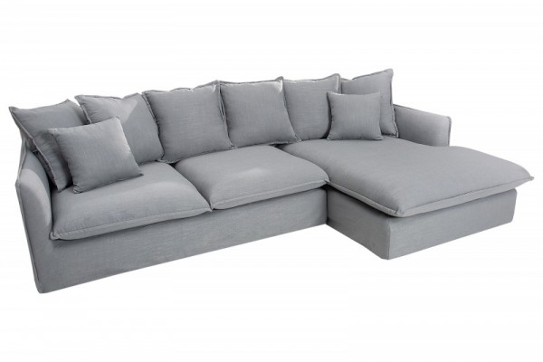 Eck-Sofa Heaven 255cm Leinen grau/ 37647
