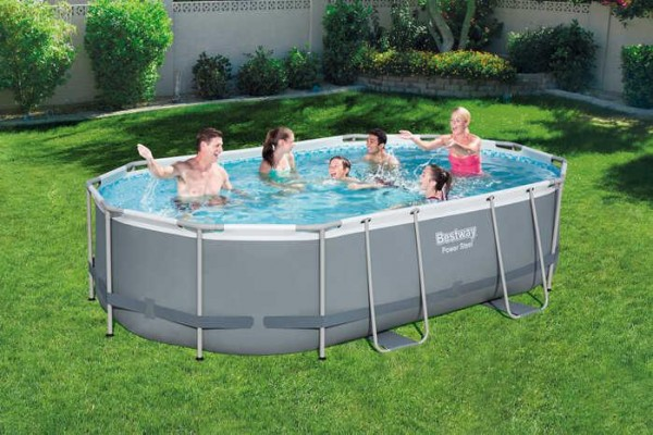 Power Steel™ Frame Pool Komplett-Set, oval, mit Filterpumpe, Sicherheitsleiter & Abdeckplane 488 x 3