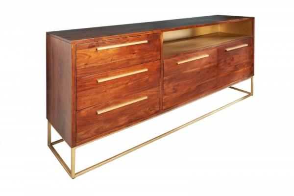 Sideboard Straight 165cm Akazie natur gold 40291