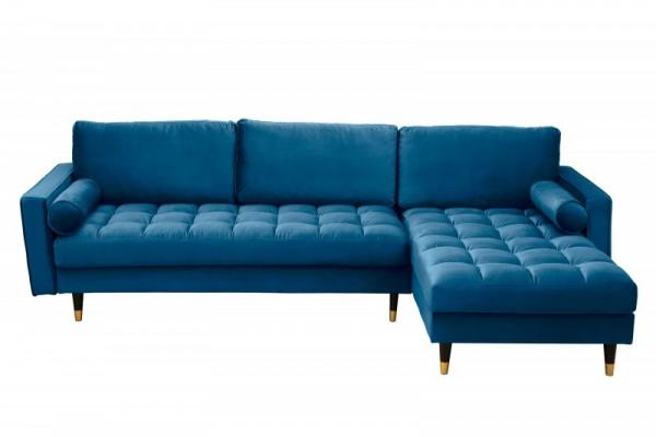 Ecksofa Cozy Velvet II 260cm dunkelblau Samt