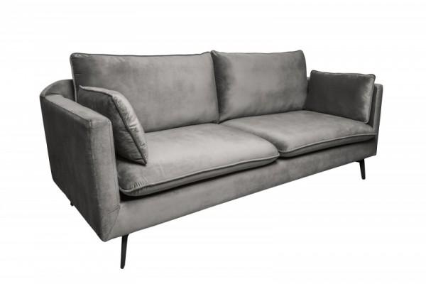 Sofa Famous II 210cm silbergrau Samt