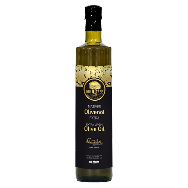 "Natives Olivenöl Extra aus Kreta ""GOLD-TREE"" 750ml Dorica-Flasche"