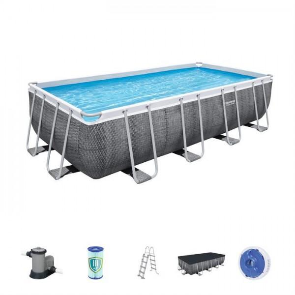 Power Steel™ Frame Pool Komplett-Set, eckig, mit Filterpumpe, Sicherheitsleiter & Abdeckplane 549 x