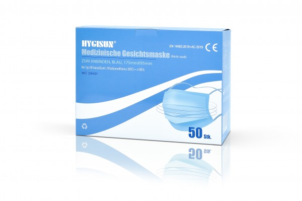 HYGISUN 3-lagige Medizinische OP Maske zum Anbinden Tpy 2 R (10er Packung)
