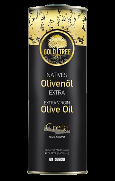 "Natives Olivenöl Extra aus Kreta ""GOLD TREE"" 500ml Metall-Kanister"