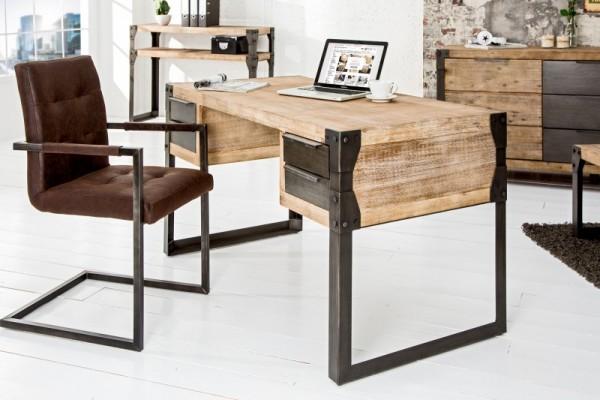 Schreibtisch Factory 135cm Akazie teakgrau 36768