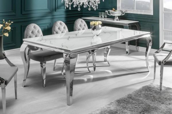 Esstisch Modern Barock 180cm silber Marmor 39995