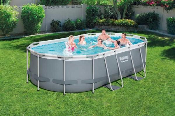 Power Steel™ Frame Pool-Set, oval, mit Filterpumpe & Sicherheitsleiter 427 x 250 x 100 cm