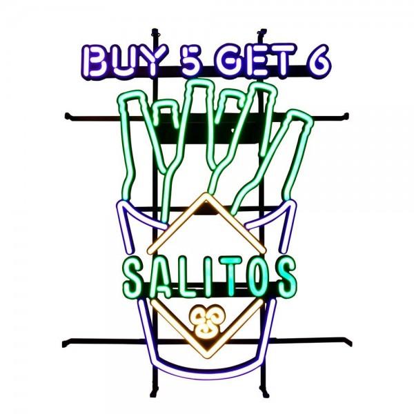 """Neon Schild mit """"Buy 5 Get 6"""" Werbespruch von SALITOS"""