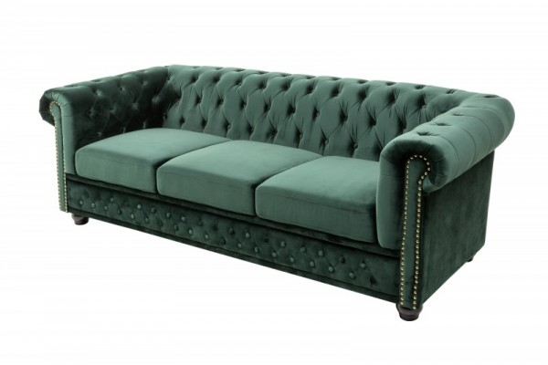 Sofa Chesterfield 3er Samt grün