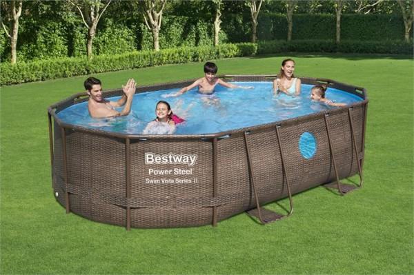 Power Steel™ Swim Vista Series™ Frame Pool Komplett-Set, oval, mit Sandfilteranlage, Sicherheitsleit