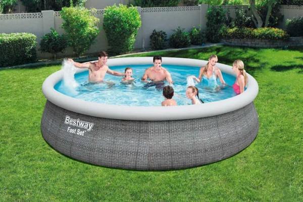 Fast Set™ Pool-Komplettset mit Filterpumpe, Sicherheitsleiter und Abdeckplane, rund, 457 x 107 cm
