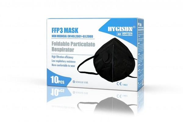 HYGISUN FFP3 Maske mit Ventil (Schwarz, 2er Packung)