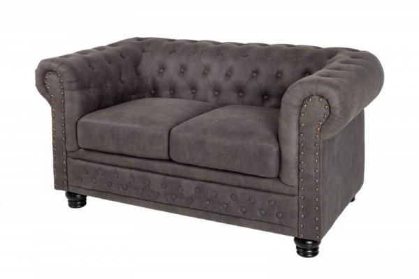 Sofa Chesterfield II 2er 150cm vintage grau taupe