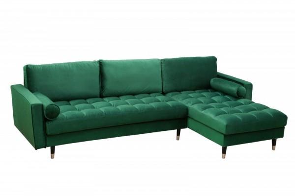 Ecksofa Cozy Velvet II 260cm smaragdgrün Samt