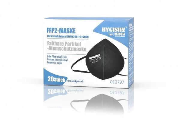 HYGISUN FFP2 Maske (Schwarz, 2er Packung) mit CE (HS0501A)
